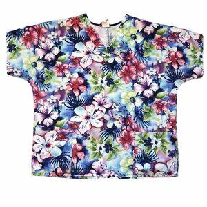 Jasco Uniform Floral Short Sleeve Scrub Top - Sz L